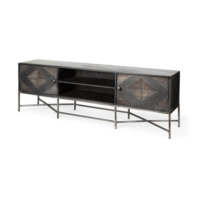 The Avondale Media Console has a diamond pattern and is large enough to hold a tv.