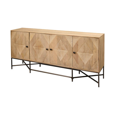 The Dryden Sideboard is made from mango wood in a light brown finish with diamond pattern carved doors and an iron frame.