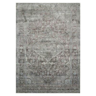 Laki Stone / Blue Rug. Affordable rug for high traffic areas. Traditional patterned and distressed rug. Grey and blue rug.