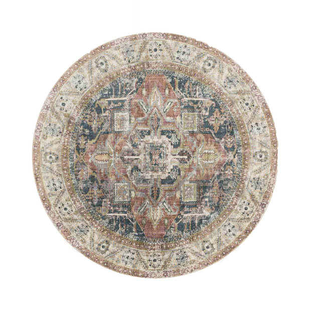 Laki Ivory / Multi Round Rug. Multicoloured and ivory round rug for high traffic areas. Durable, affordable round rug.