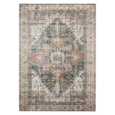 Laki Ivory / Multi Rug. Multicoloured, traditionally patterned rug. Rug for high traffic areas. Affordable 100% cotton rugs.
