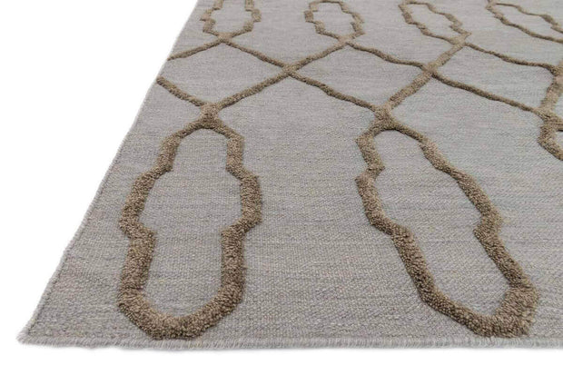 High/low texture and colour detail of the Atlas Slate Rug. Flat weave, Moroccan style rug.