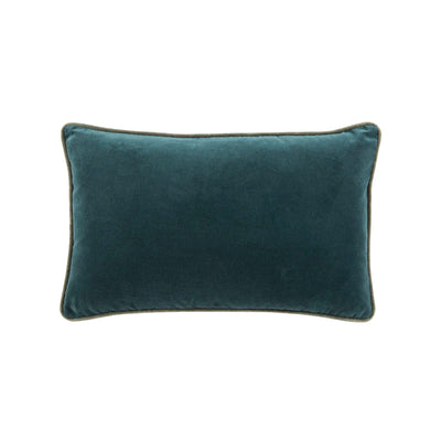 Blue-green lumbar pillow made of 100% cotton with a velvet finish.