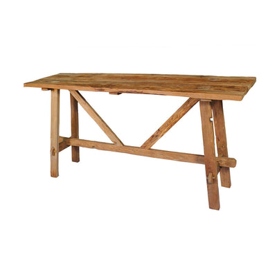 Console Table made from reclaimed teak wood and has a modern farmhouse look.