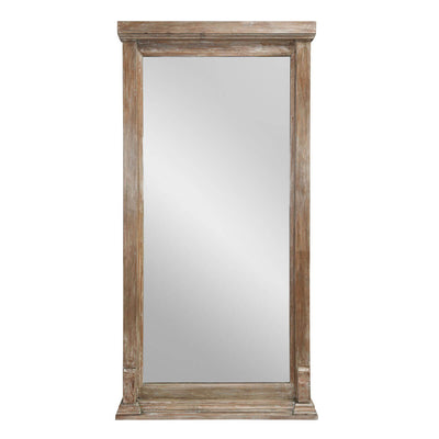 The Henley Floor Mirror has a mango wood frame for a rustic, traditional look.