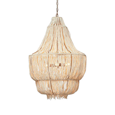 The Rosa Chandelier is a traditional shape chandelier with hand-strung coco beads that create an organic look.