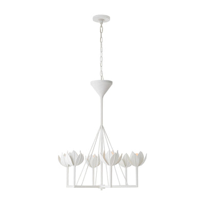 A small chandelier with six blooming flowers around the light bulbs. Finished in a plaster white.
