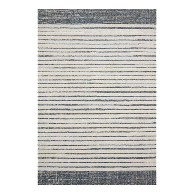 Dual toned blue and white polypropylene rug with a high pile.