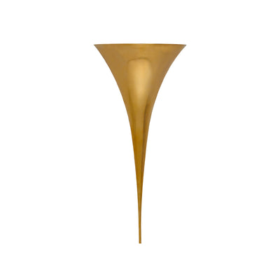 Minimalist sharp hand-rubbed brass wall sconce.