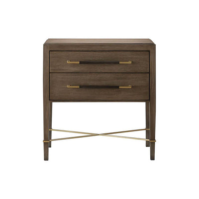 The Almería Nightstand is made of solid mahogany in a verona chanterelle finish and has dovetail drawer boxes, metallic accents, and removable velvet drawer liners.