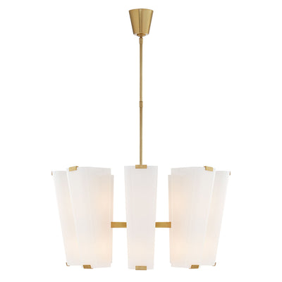 The Alpine Medium Chandelier is has 16 candelabra bulbs with white glass shades and hand-rubbed, antique brass hardware.
