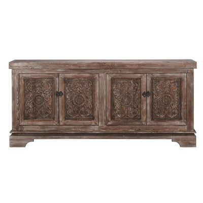 The Edinburgh Sideboard is made of pine and has four doors with hand-carved floral pattern details.