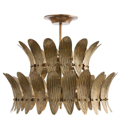 Troy Two Tier Chandelier. Vintage inspired office chandelier with an antique brass finish and curved plate details.