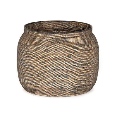 Large storage basket made from woven lombok and contrasting black rattan.