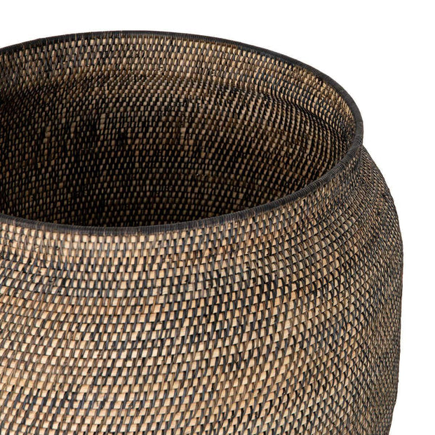 Lombok and black rattan woven storage basket.