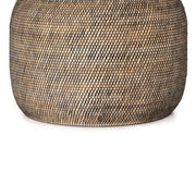 Oversized, cylindrical catch all basket made from woven Lombok and black rattan.
