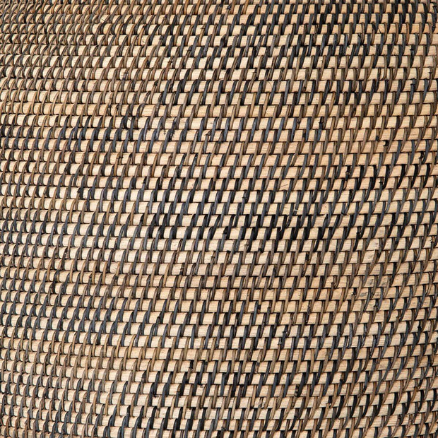 Natural Lombok and black rattan woven basket.
