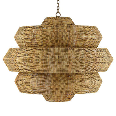 Cannes Grande Chandelier. Beautiful hand woven by artisans using a wrought iron frame and a woven natural rattan.