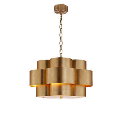 Arabelle Hanging Shade has a flower-like, gild leaf metal shade with five enclosed lights and a chain attachment.