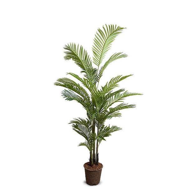 The Areca Palm Tree Medium is a medium sized fake palm tree with dark green leaves.