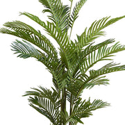 Medium size fake tropical plant with dark green leaves.