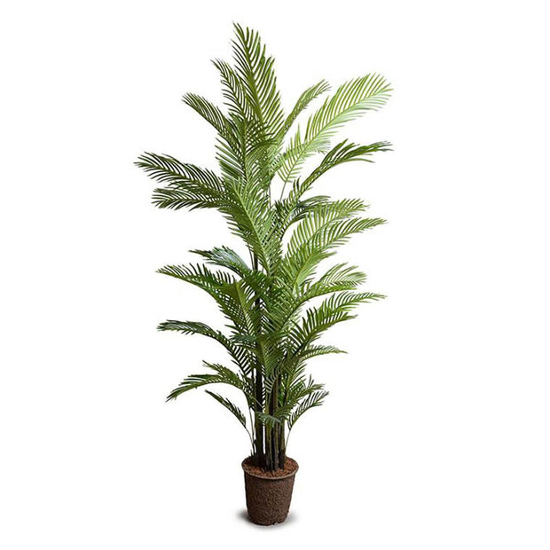 The Areca Palm Tree Medium is a large sized fake palm tree with dark green leaves.
