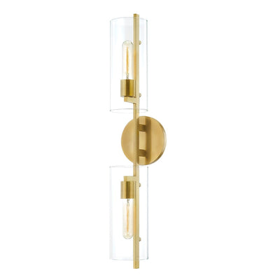 Aged brass double sconce with beaded cylinder glass. Vertical bathroom light.
