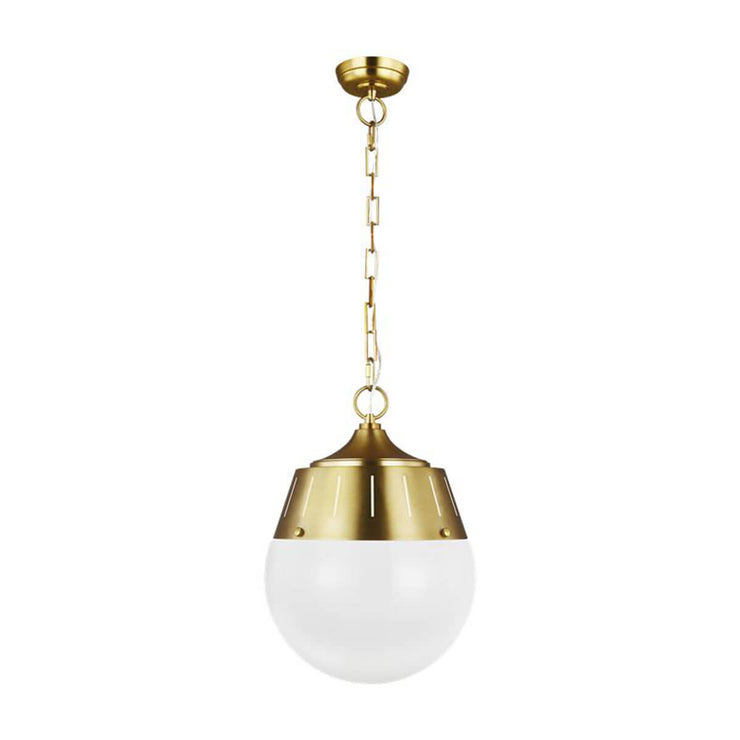 Volos Pendant in a burnished brass finish with a glass globe shade.