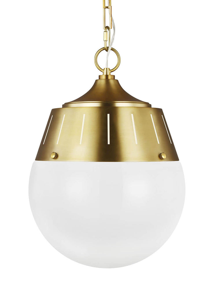 Glass globe dining room pendant light with a burnished brass finish.