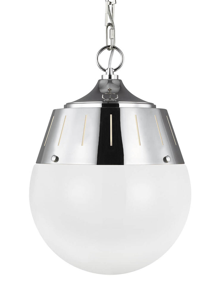 Glass globe dining room pendant light with a polished nickel finish.