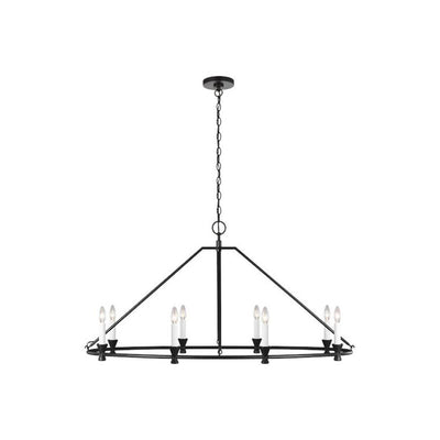 Aspen 8 Oval Chandelier. Dining room chandelier with an aged iron finish and an 8 bulb candelabra light holder.