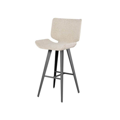 Modern barstool with a large seat upholstered in boucle fabric, titanium steel legs, and a footrest.