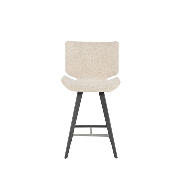 The Lethbridge Counter Stool is upholstered in boucle fabric, has titanium steel legs and a footrest.