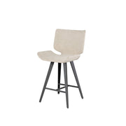 Modern counter stool with a large seat upholstered in boucle fabric, titanium steel legs, and a footrest.