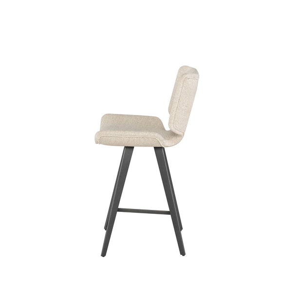 Side view of the off white modern counter stool with a large, upholstered seat and dark grey legs.