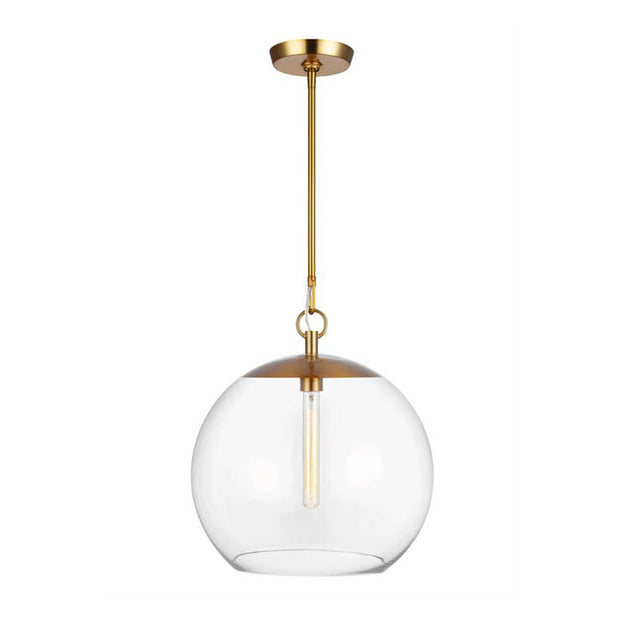 Augusta 1 Light Pendant in burnished brass. Glass globe pendant with a burnished brass finish.