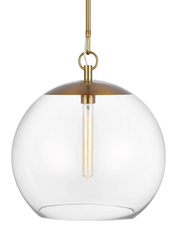 Glass globe pendant with modern bulb and a burnished brass finish.