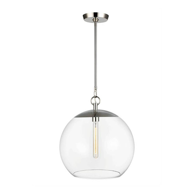 Augusta 1 Light Pendant in polished nickel. Polished nickel globe single pendant.