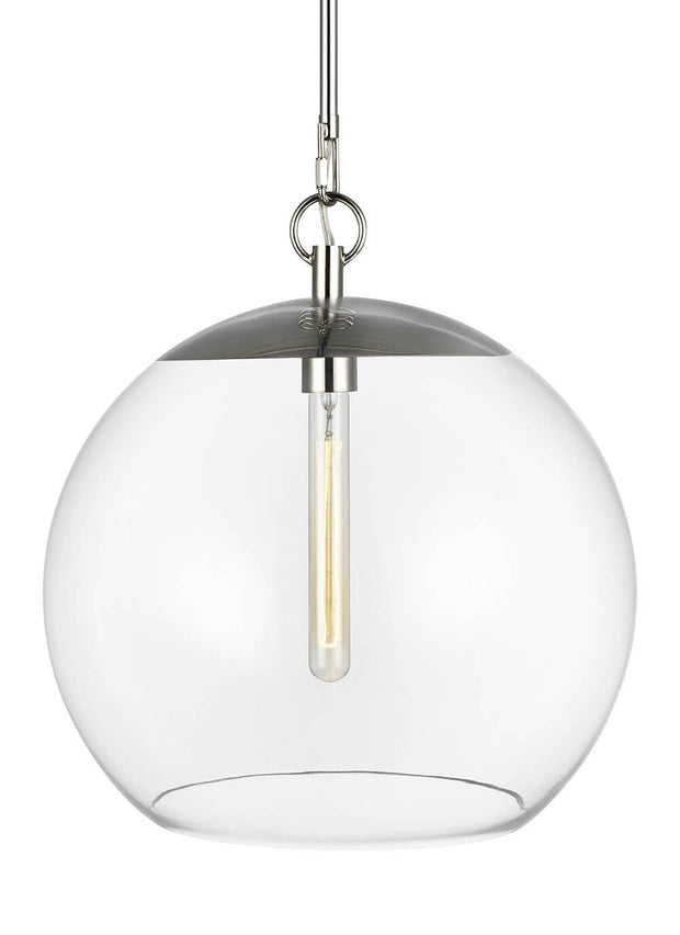 Glass globe ceiling light with modern bulb and a polished nickel finish.