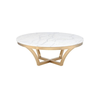The Tavira Coffee Table has a marble top and brushed gold stainless steel frame.