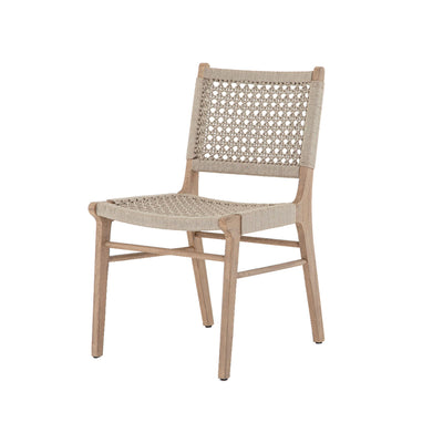 Front angled photo of outdoor dining chair with ivory outdoor-friendly rope and wood.