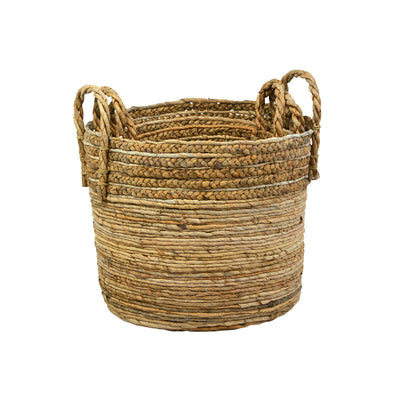 Set of three nesting baskets made from braided natural fibres and perfect for storage or as a decorative planter.