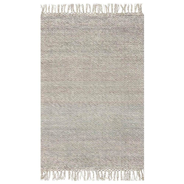 Calacatta Ivory Rug. Ivory rug with fringe detail. Wool rug with heathered ivory colour.
