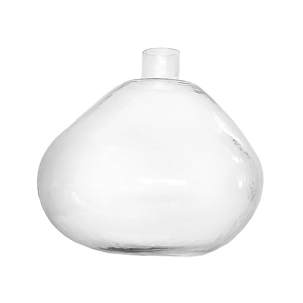 The Murcia Vase is a clear glass abstract bulb-shaped vase.