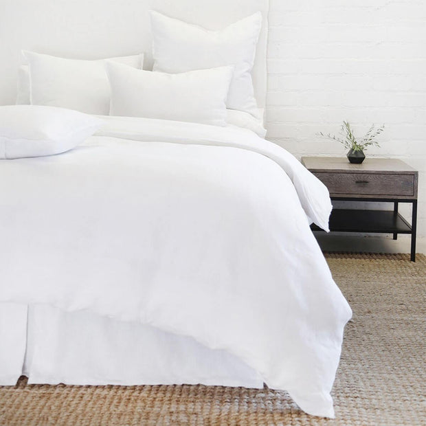 The Berlin Bedding Collection is a white, 100% linen duvet cover with tie closures and subtle frayed edge.
