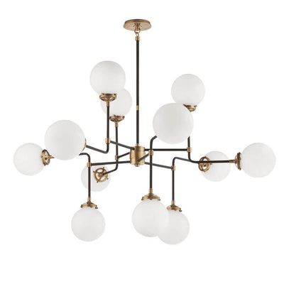 Bistro Chandelier has twelve white glass globes and hand-rubbed antique brass curved rods to create a modern, whimsical look.