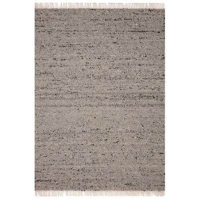 The Balos Rug in Silver/Stone is a 100%, hand woven rug that features naturally multicoloured yarn and fringed edges.