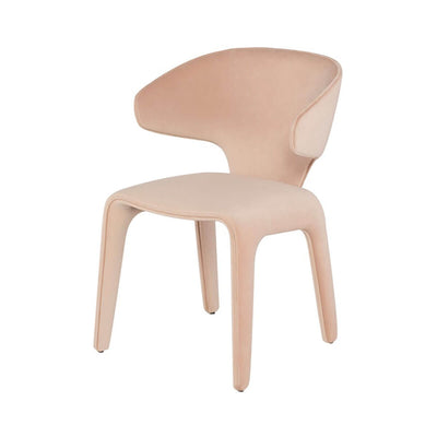 Modern dining room chair with a organic shape and peach velour finish.
