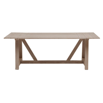 Large, grey washed teak wood outdoor dining table. Perfect for summer outdoor dining and family gatherings.