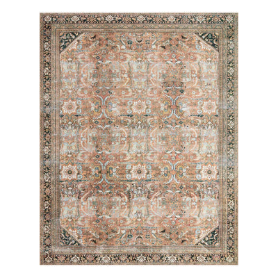 Oriental floral patterned rug made in Egypt.